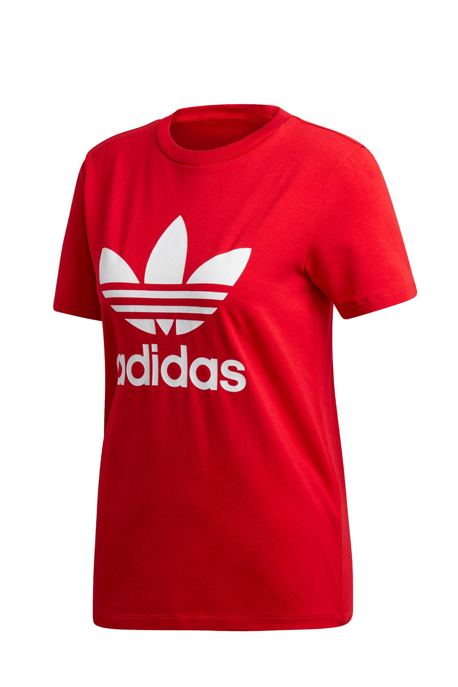 adidas originals Adicolor T shirt rood | wehkamp