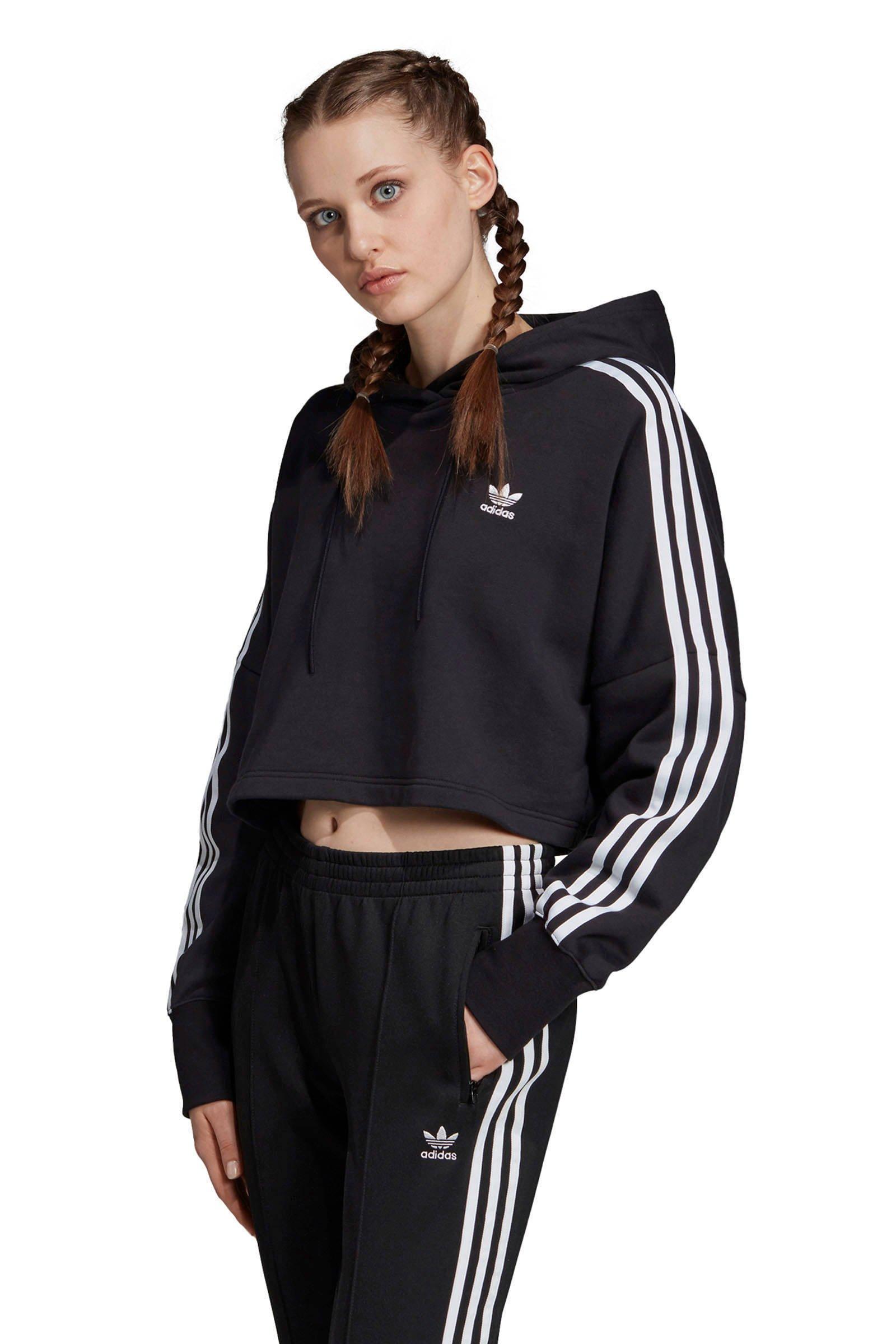 adidas Originals Adicolor cropped sweater zwartwit   wehkamp