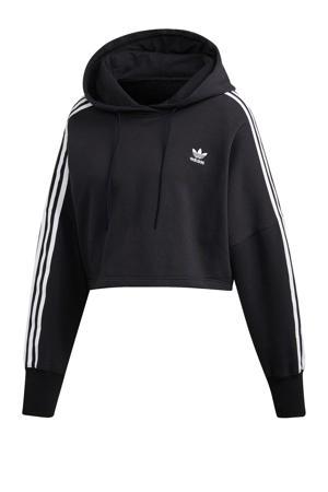 Adicolor cropped sweater zwart/wit