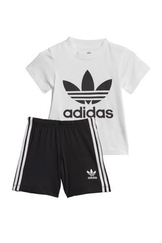 originals   Adicolor T-shirt + short zwart/wit