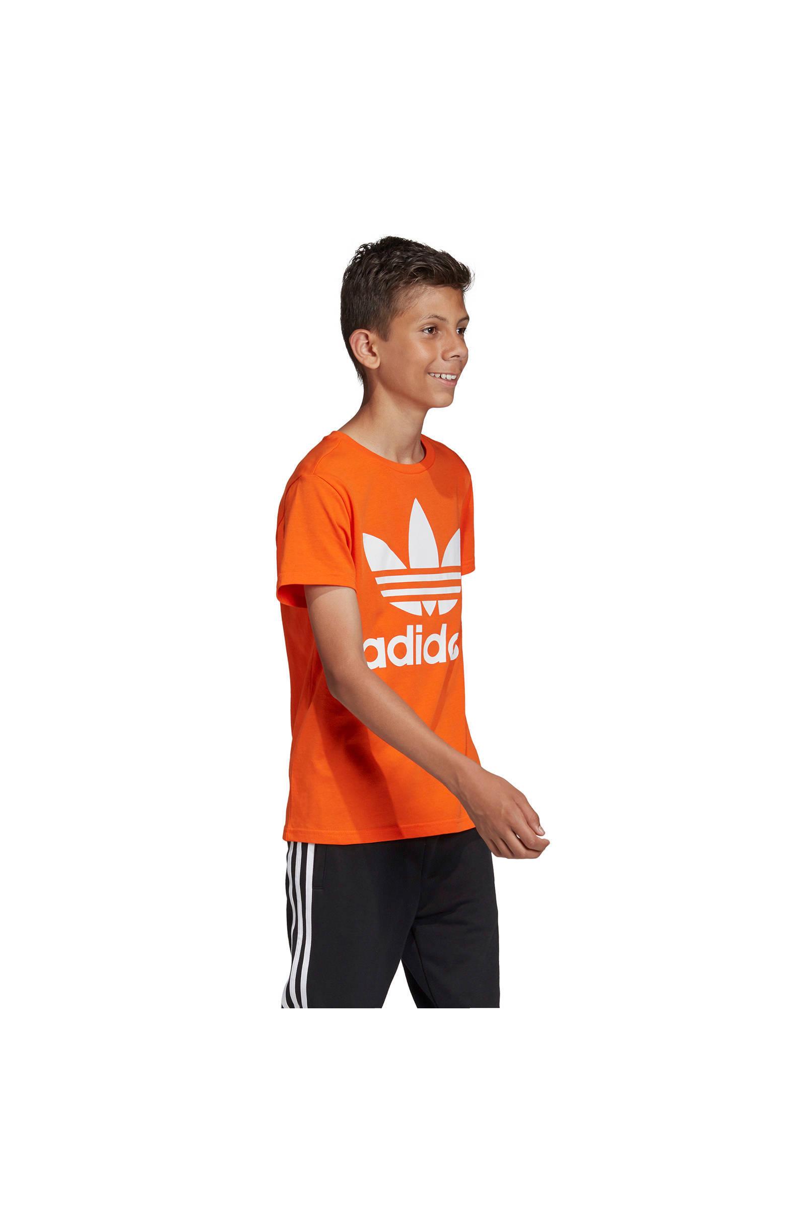 adidas originals Adicolor T shirt oranje | wehkamp