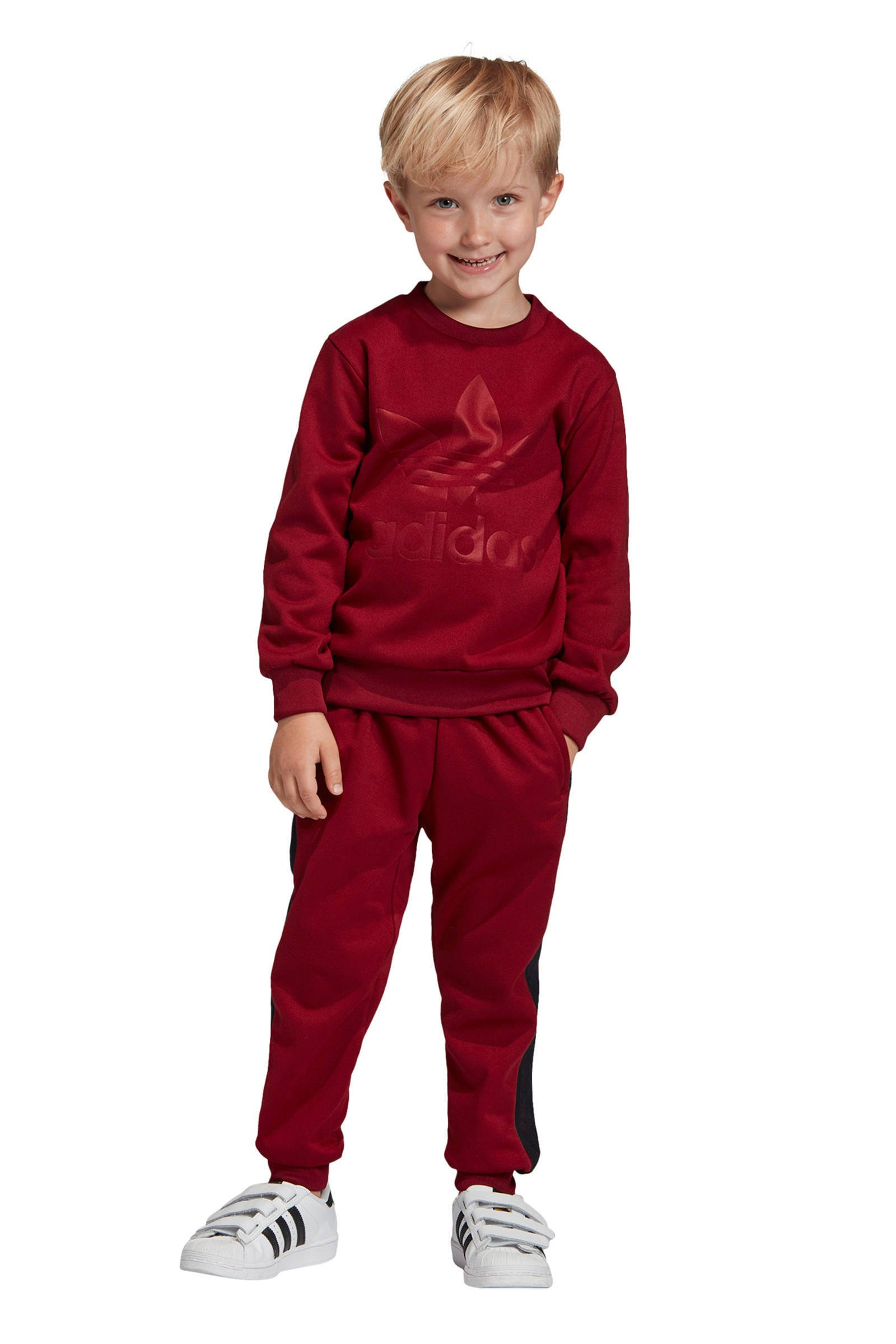 fleece joggingpak donkerrood