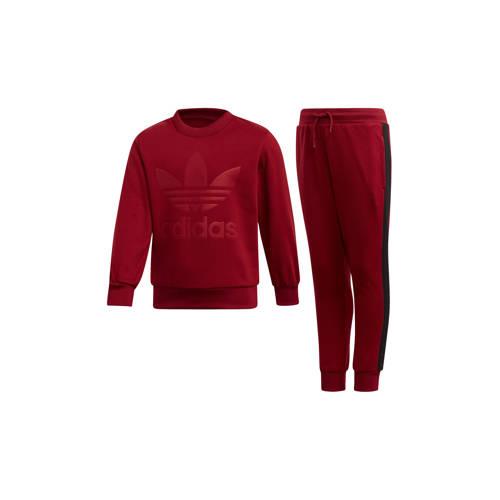 adidas originals fleece joggingpak donkerrood