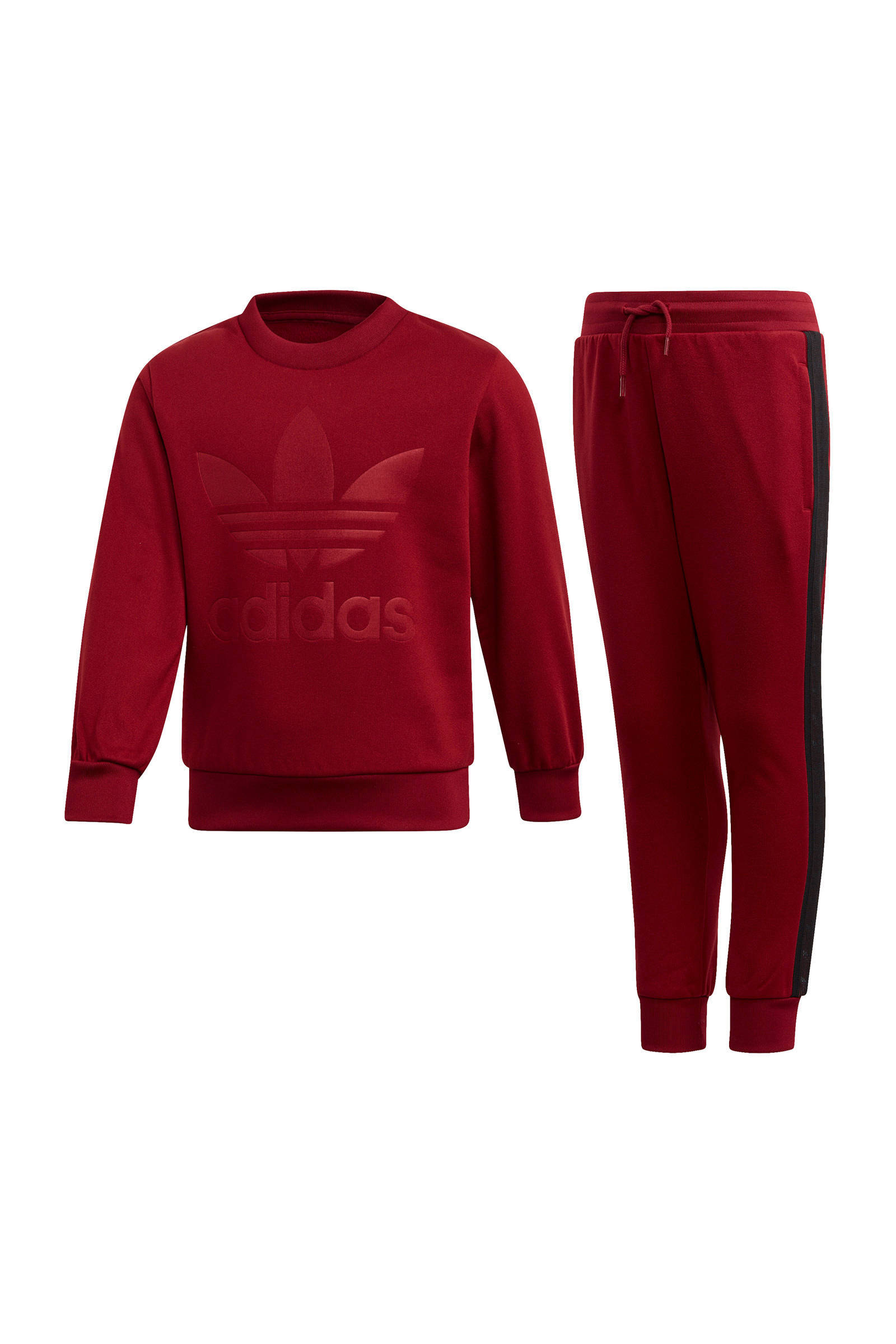 adidas Originals fleece joggingpak donkerrood | wehkamp