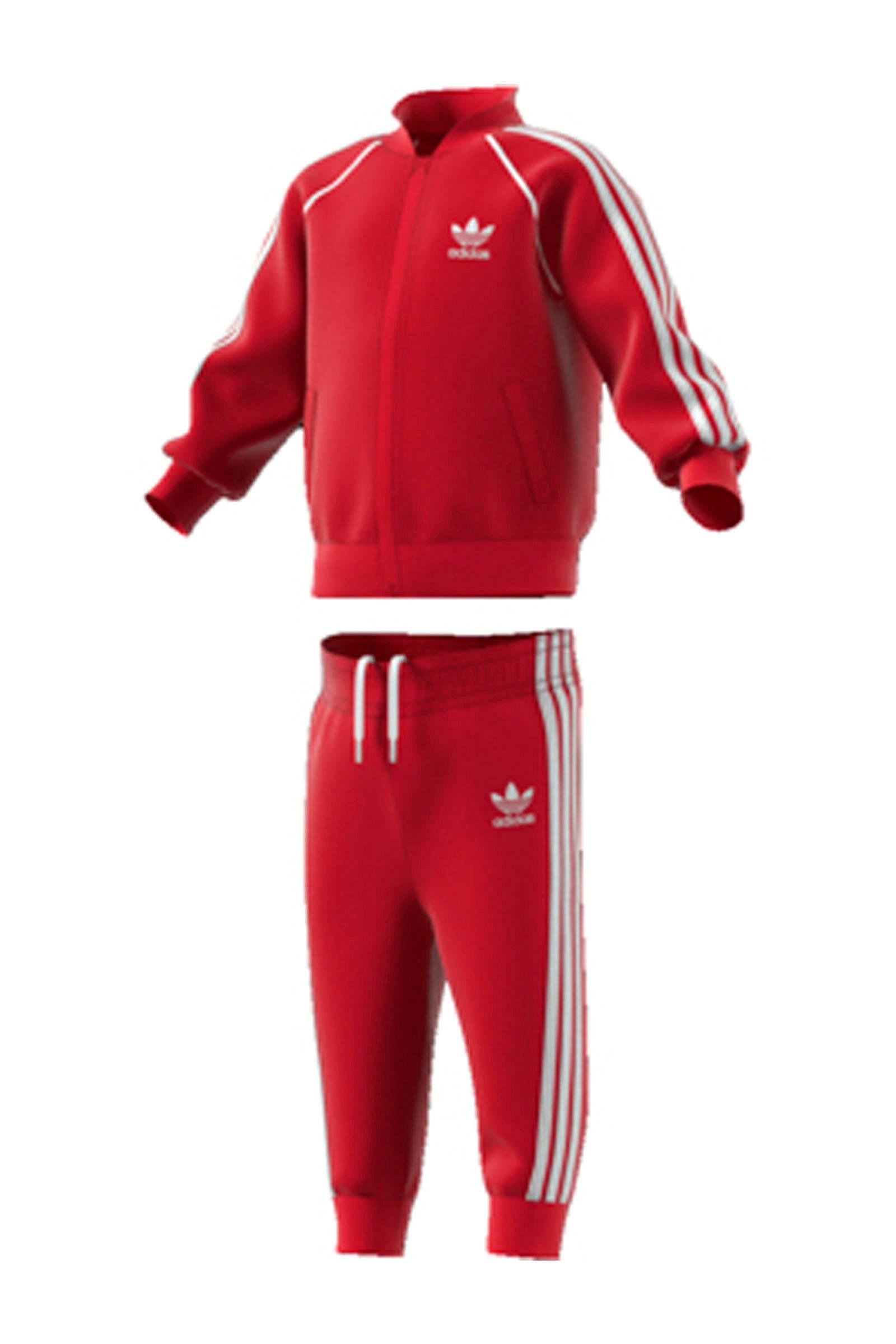 adidas originals Adicolor trainingspak rood   wehkamp