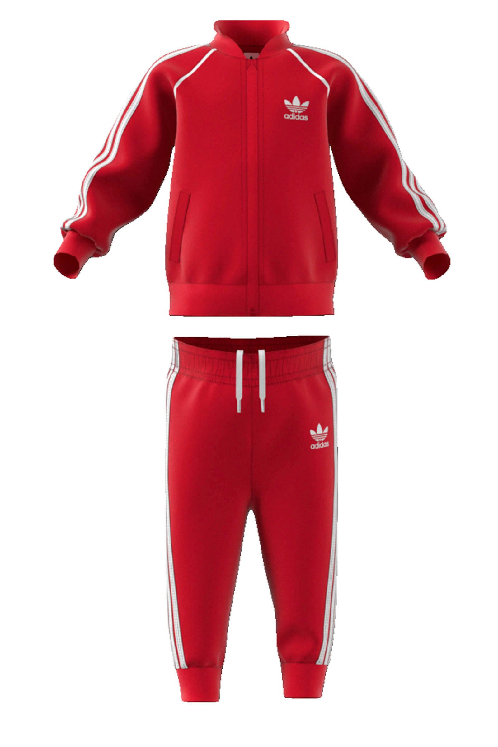 adidas Originals Adicolor trainingspak rood | wehkamp