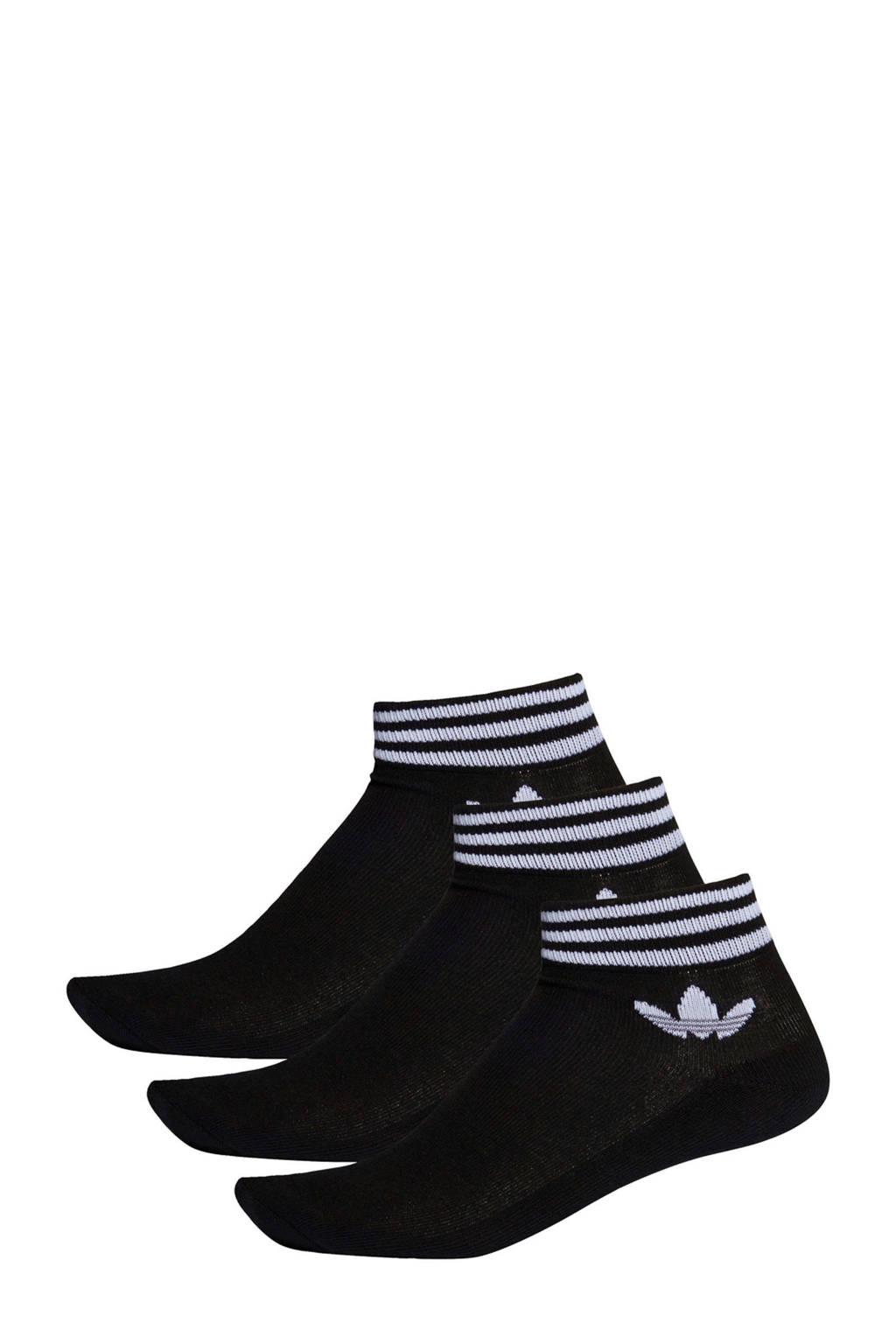 adidas Originals   Adicolor enkelsokken (set van 3) zwart, Zwart/wit