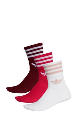 originals   Adicolor sokken (set van 3 paar) rood/wit