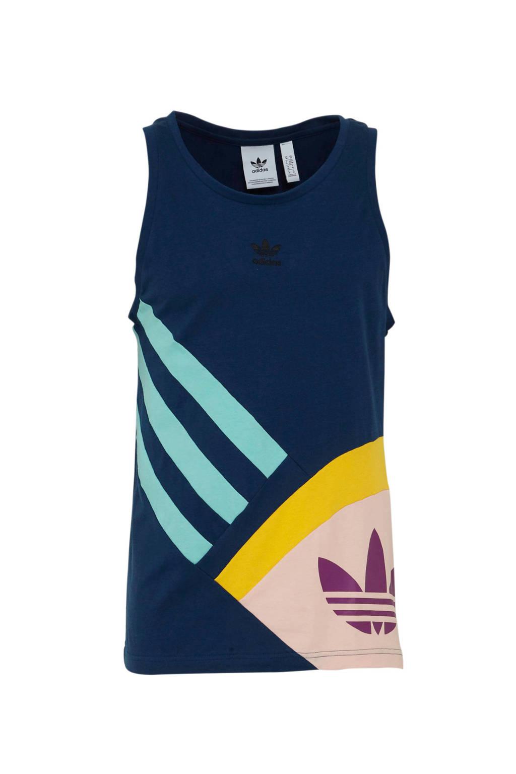 adidas originals   singlet donkerblauw, Donkerblauw/geel/roze