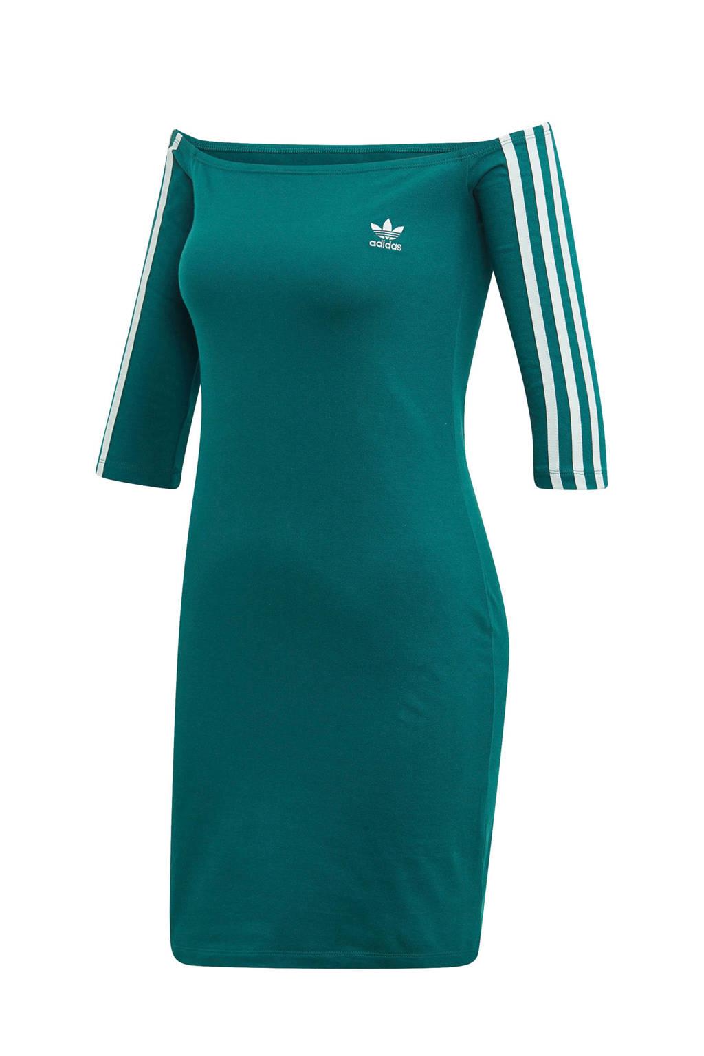 adidas originals off shoulder jurk groen/wit, Groen/wit