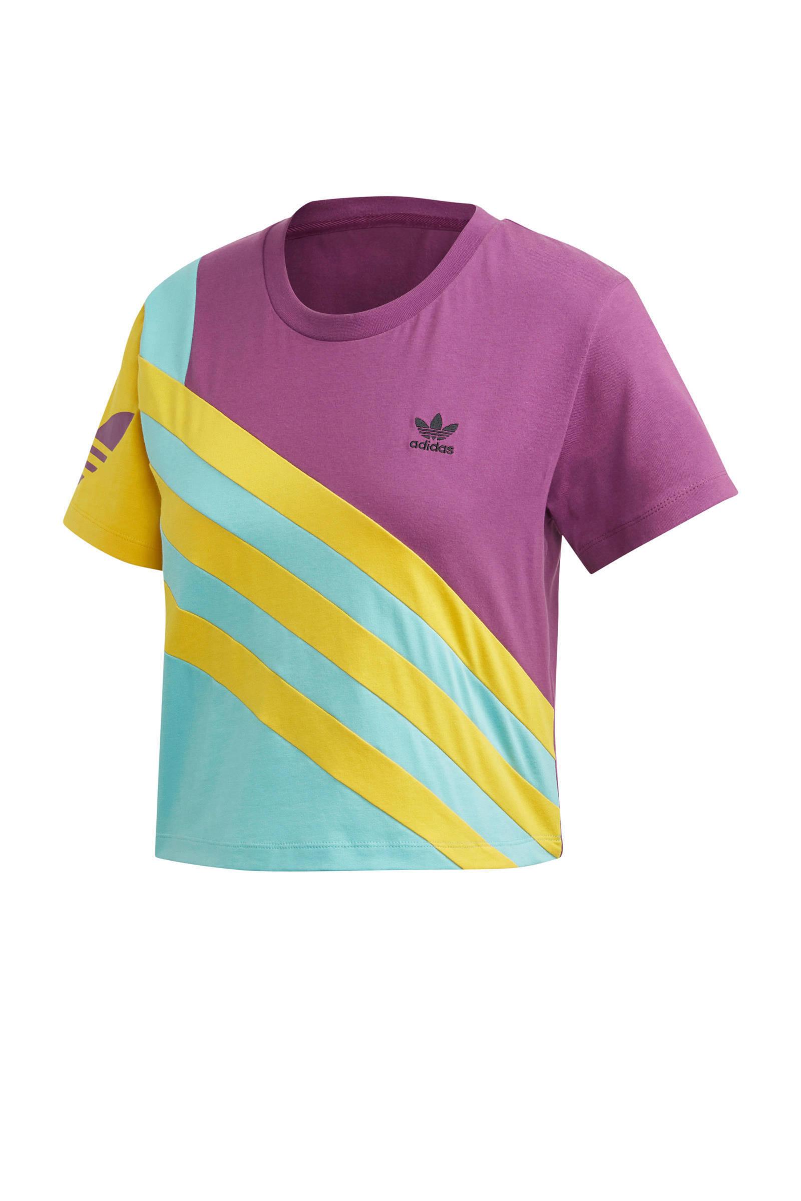 adidas Originals cropped T-shirt paars/geel/blauw | wehkamp