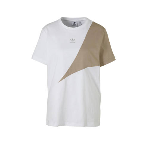adidas originals T-shirt wit-kaki