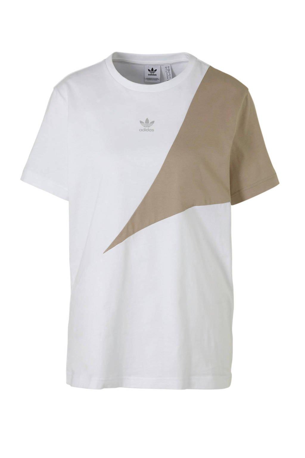 adidas originals T-shirt wit/kaki, Wit/kaki