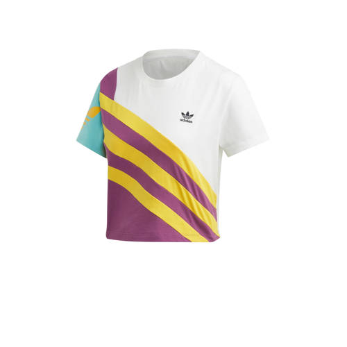 adidas originals cropped T-shirt wit-geel-paars