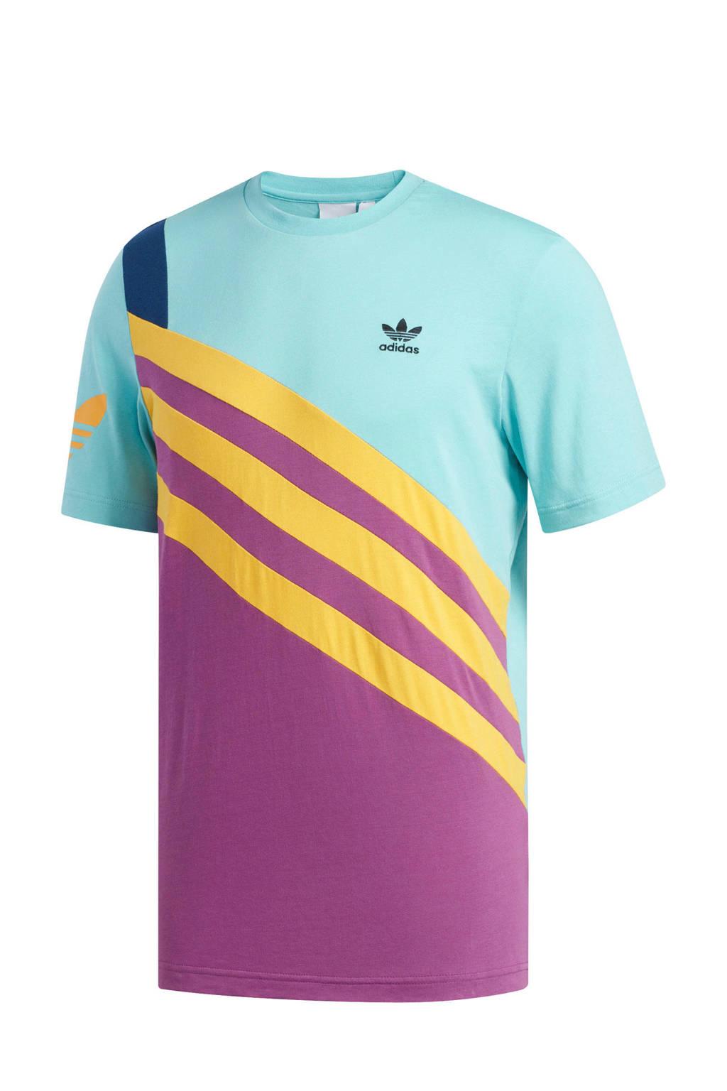 adidas originals   T-shirt blauw/geel/paars, Blauw/geel/paars
