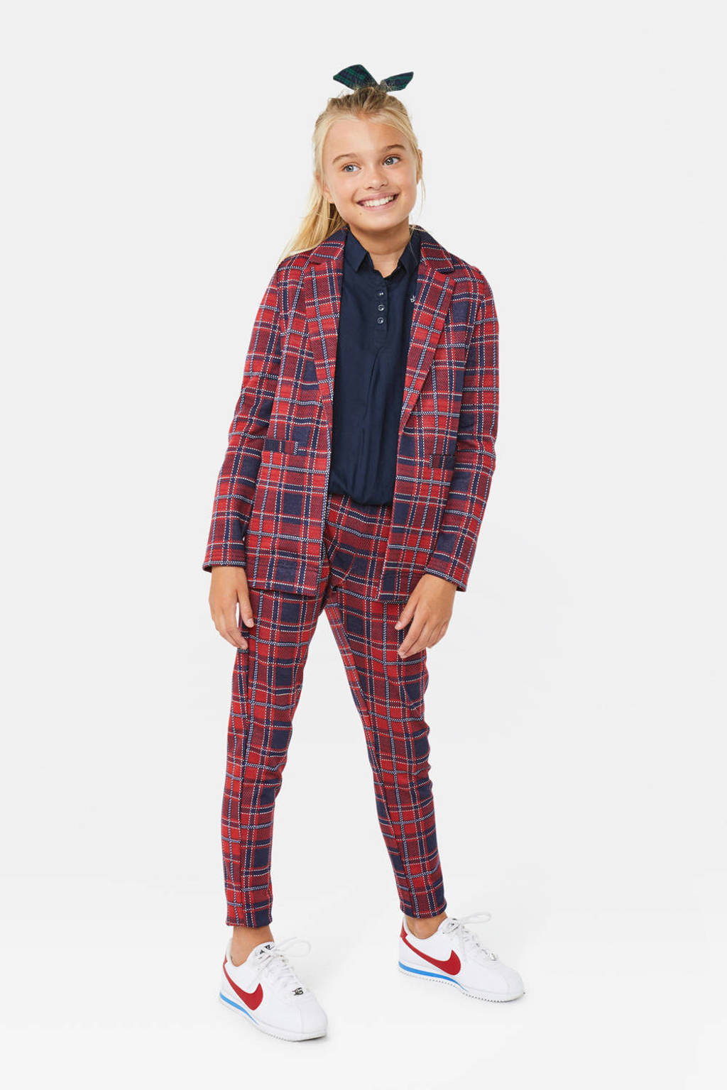 WE Fashion geruite blazer donkerblauw/rood, Donkerblauw/rood