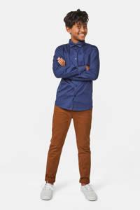 WE Fashion overhemd met stippen en vlinderstrik, Donkerblauw