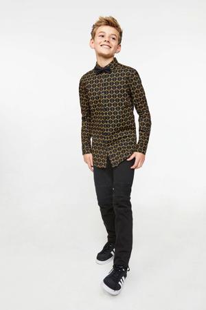 overhemd met all over print zwart