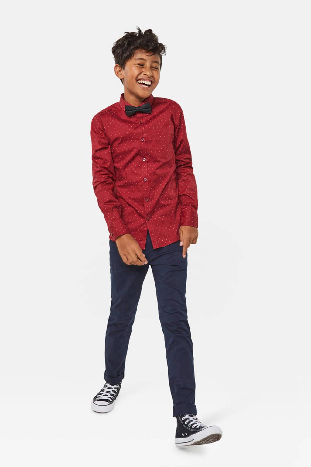 WE Fashion overhemd met all over print en vlinderstrik, Rood
