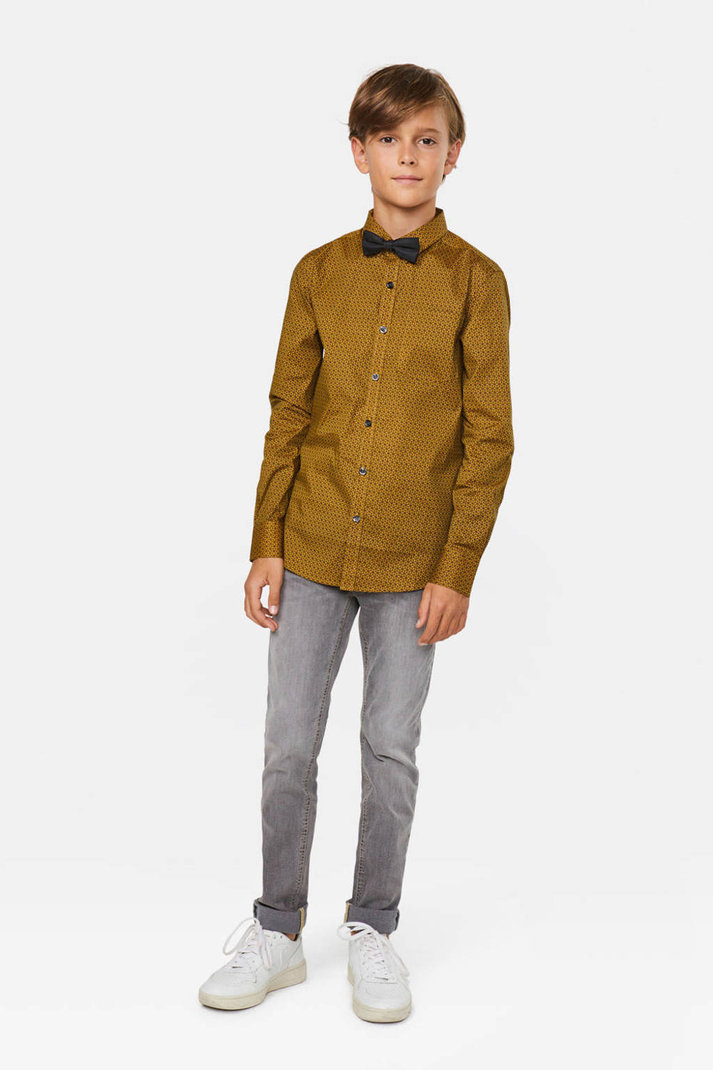 WE Fashion overhemd met all over print en vlinderstrik, Oker