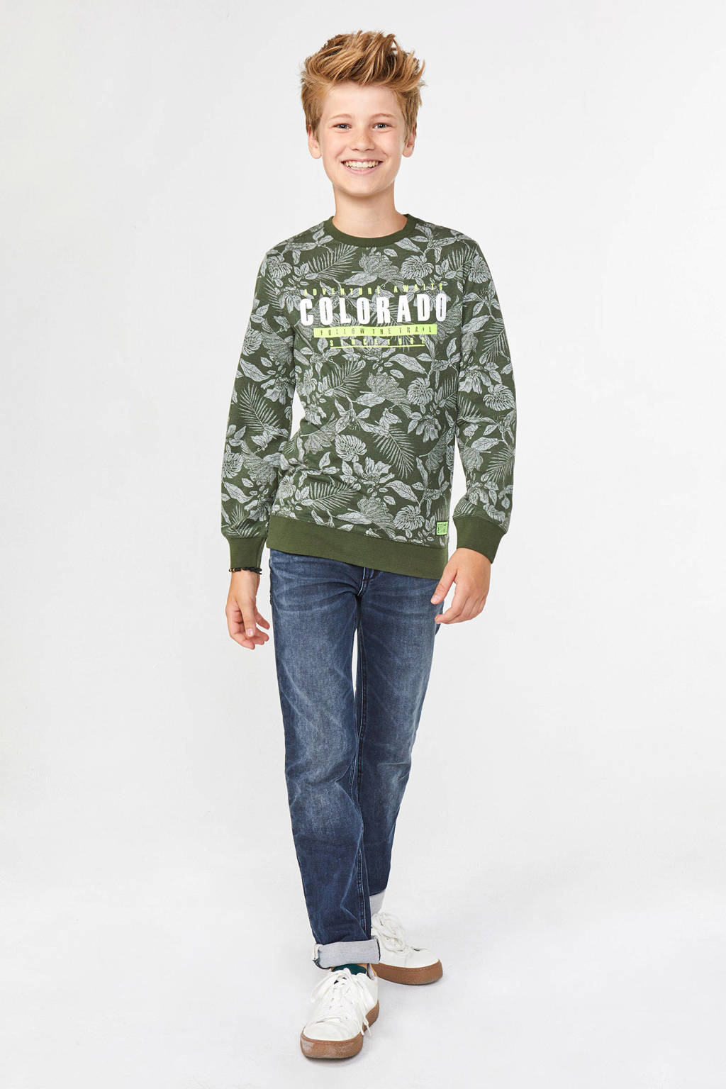 WE Fashion sweater met all over print en tekst groen, Groen/wit