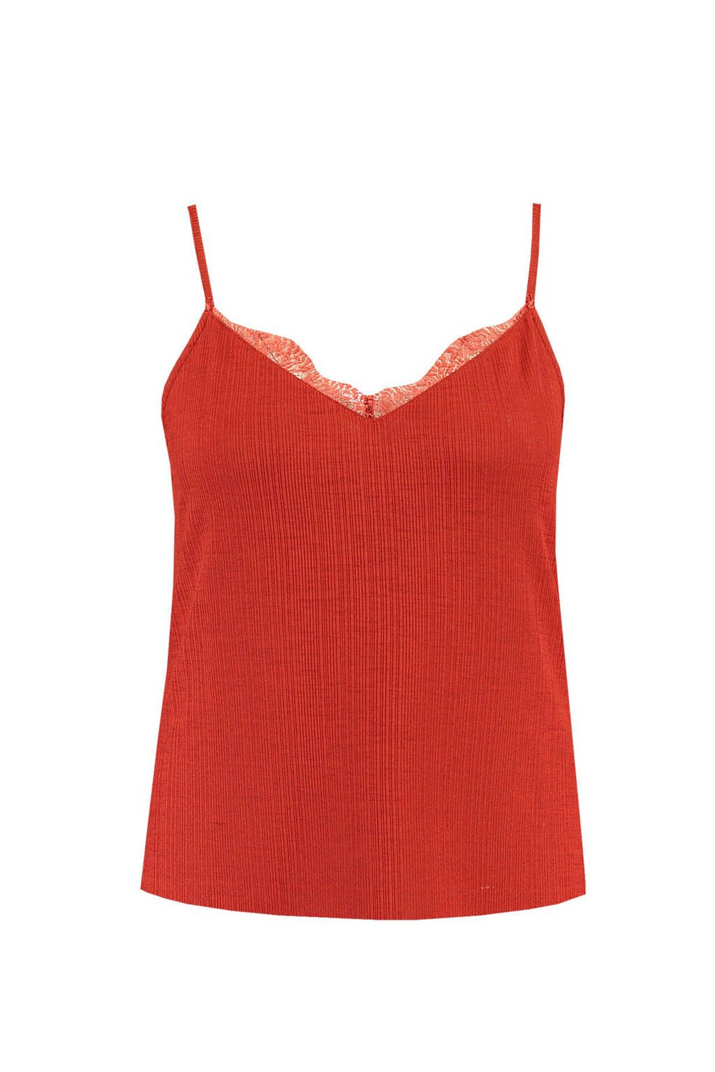 MS Mode spaghetti top rood, Rood