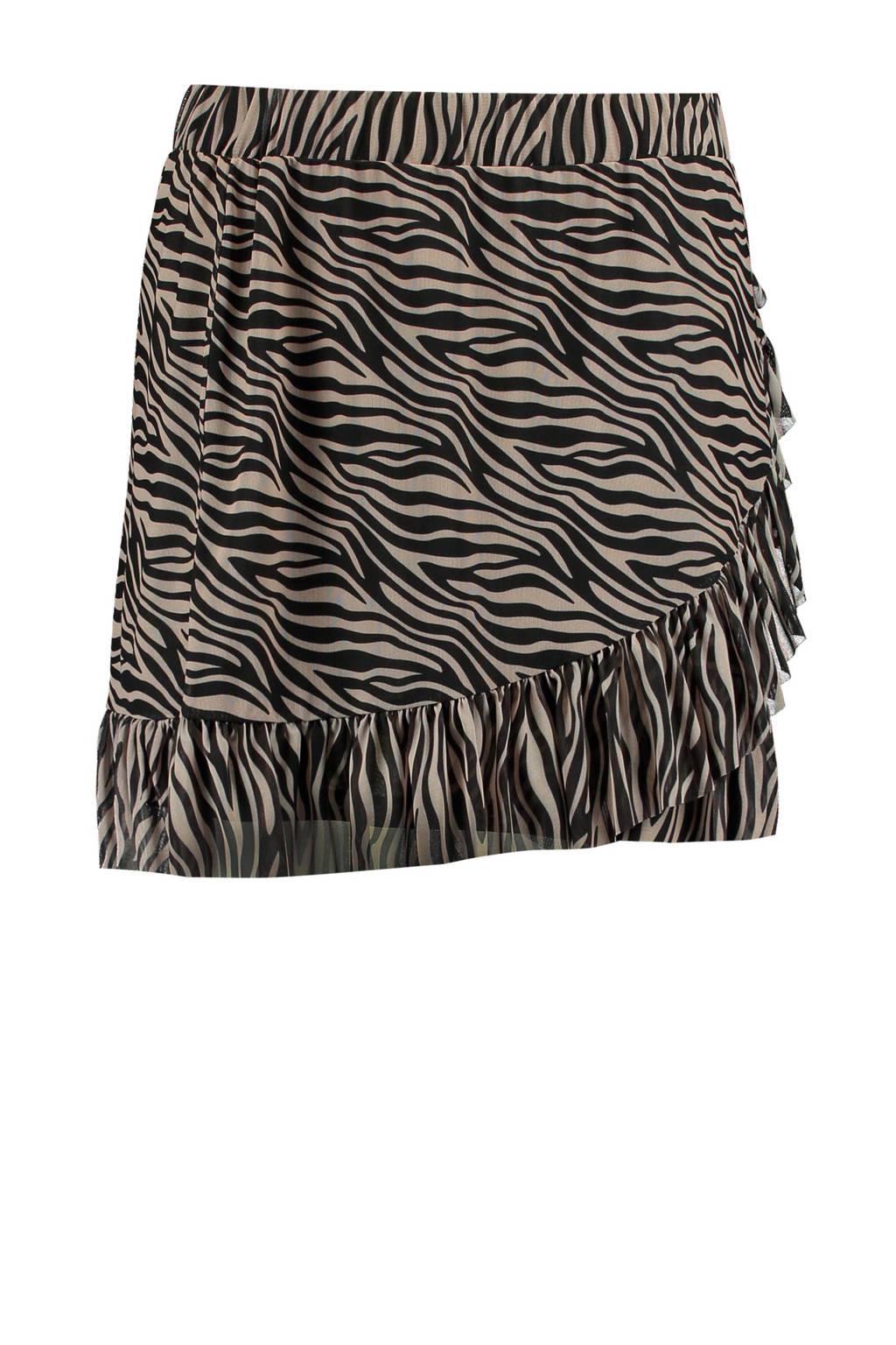 MS Mode top met zebraprint zwart, Zwart/grjis