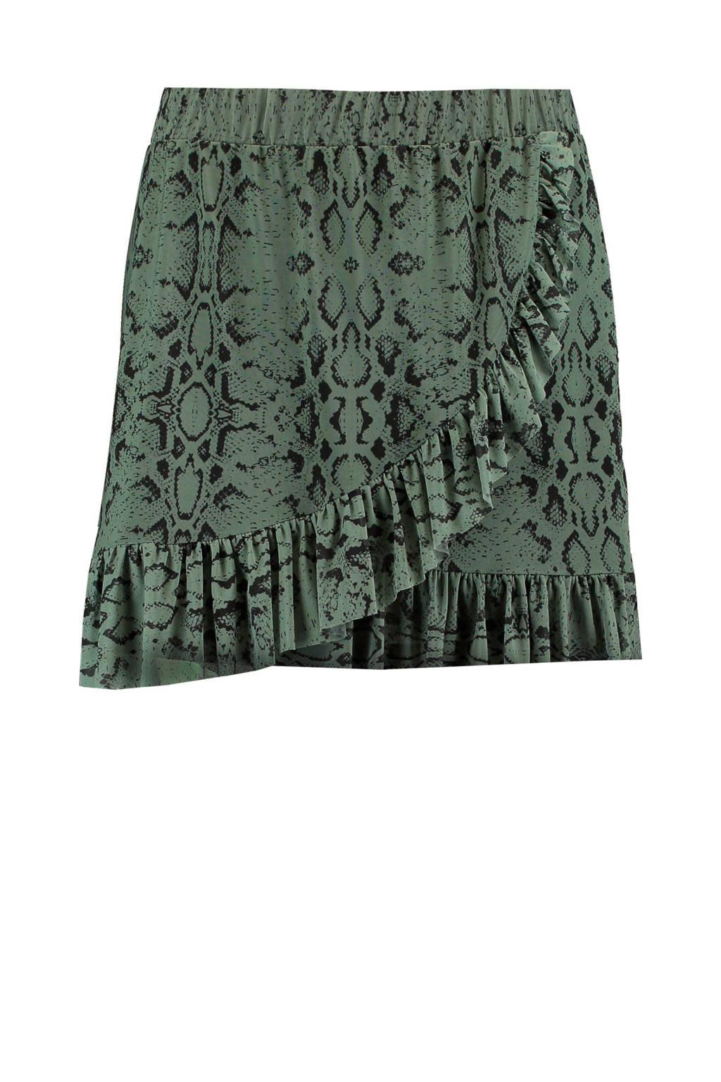 MS Mode rok met slangenprint groen, Groen