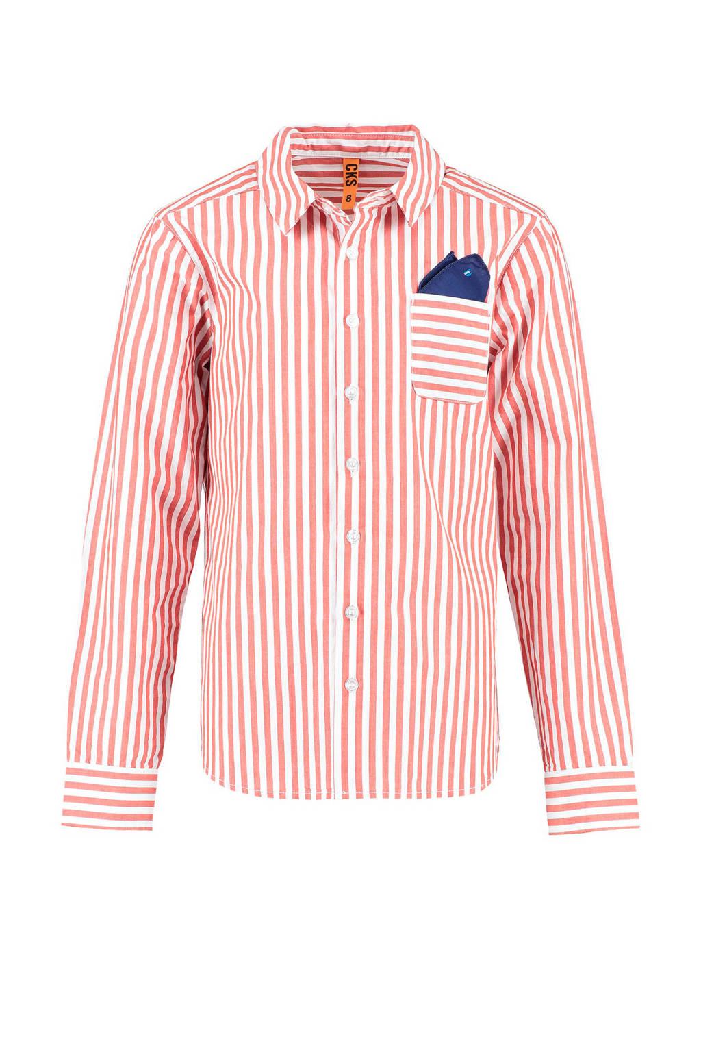 CKS KIDS gestreept overhemd Bouters rood, Rood/wit