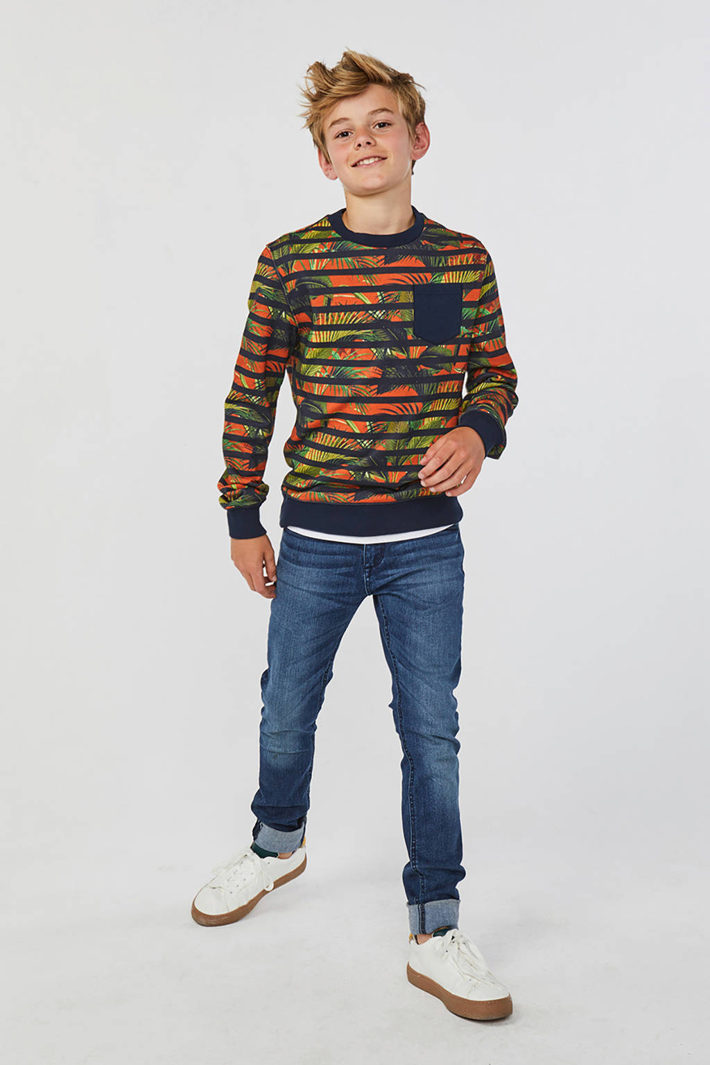 WE Fashion gestreepte sweater donkerblauw/oranje, Donkerblauw/oranje