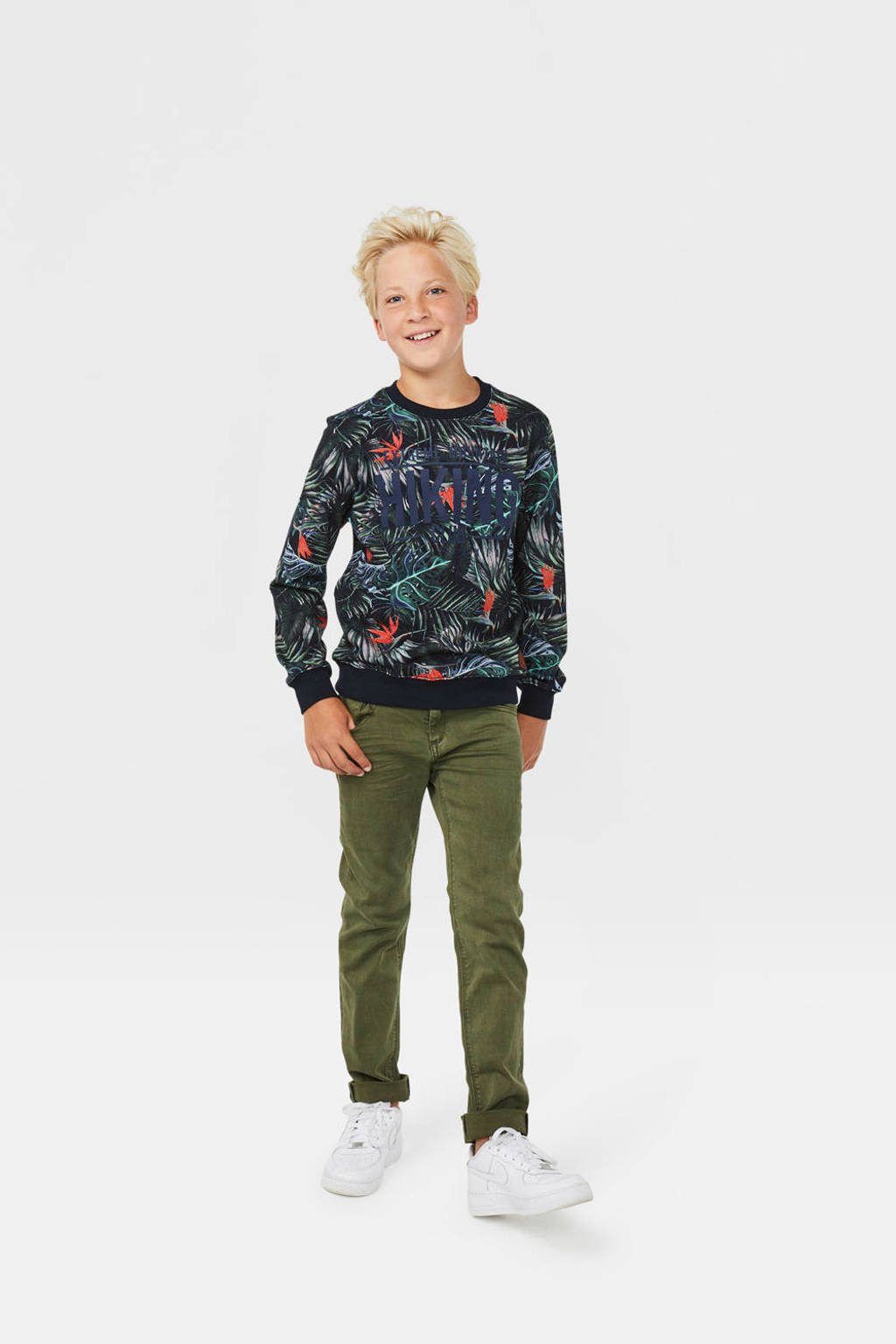 WE Fashion sweater met all over print donkerblauw/rood, Donkerblauw/rood