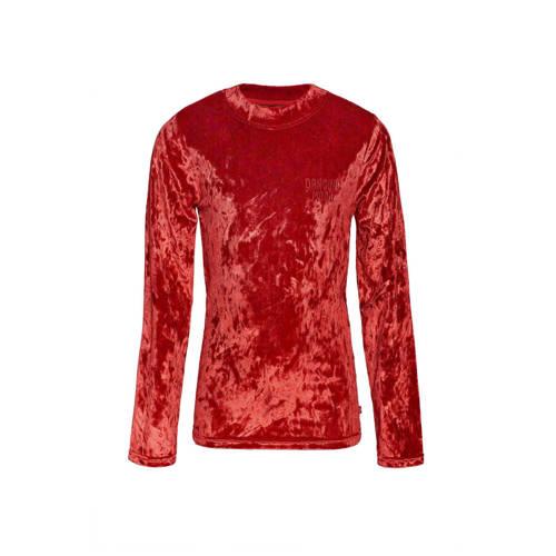 WE Fashion fluwelen top met col rood
