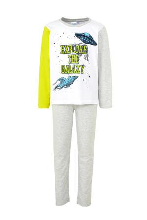 pyjama met ruimtetekst grijs
