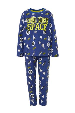 pyjama met ruimteprint blauw