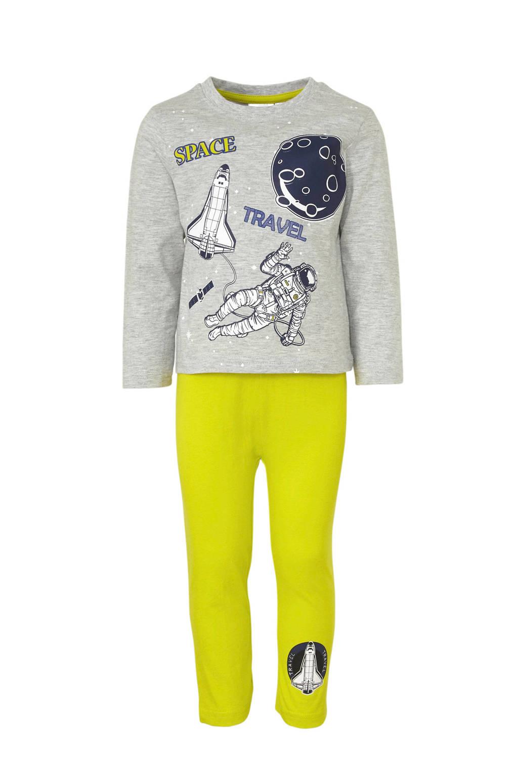 pyjama met ruimte printopdruk grijs, Grijs melange
