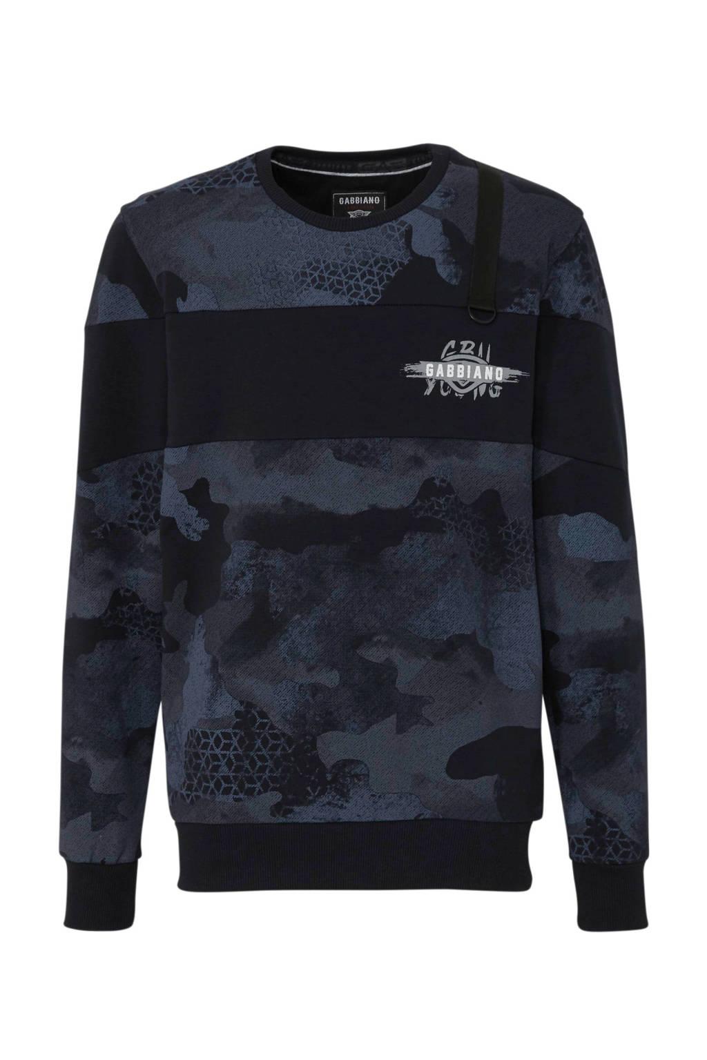 GABBIANO sweater met camouflageprint marine, Marine