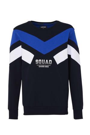 sweater met tekst donkerblauw/ blauw/ wit