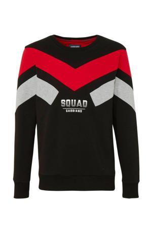 sweater met tekst zwart/ rood/ grijs melange