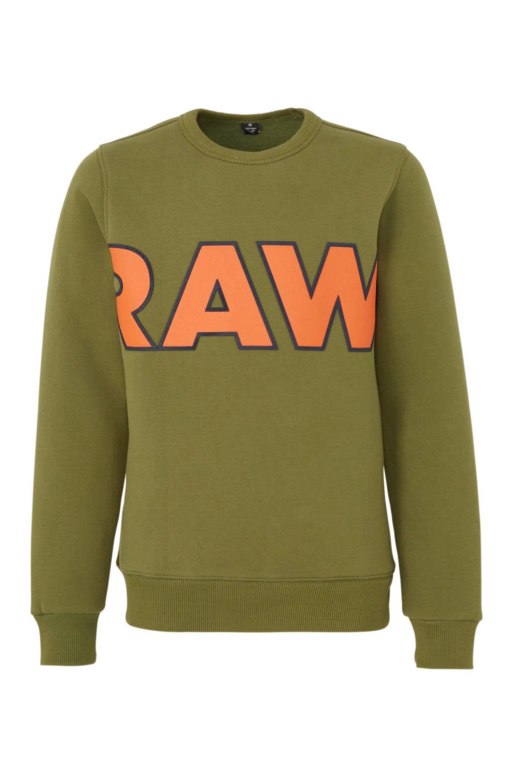 G-Star RAW sweater met tekst kaki groen, Kaki groen