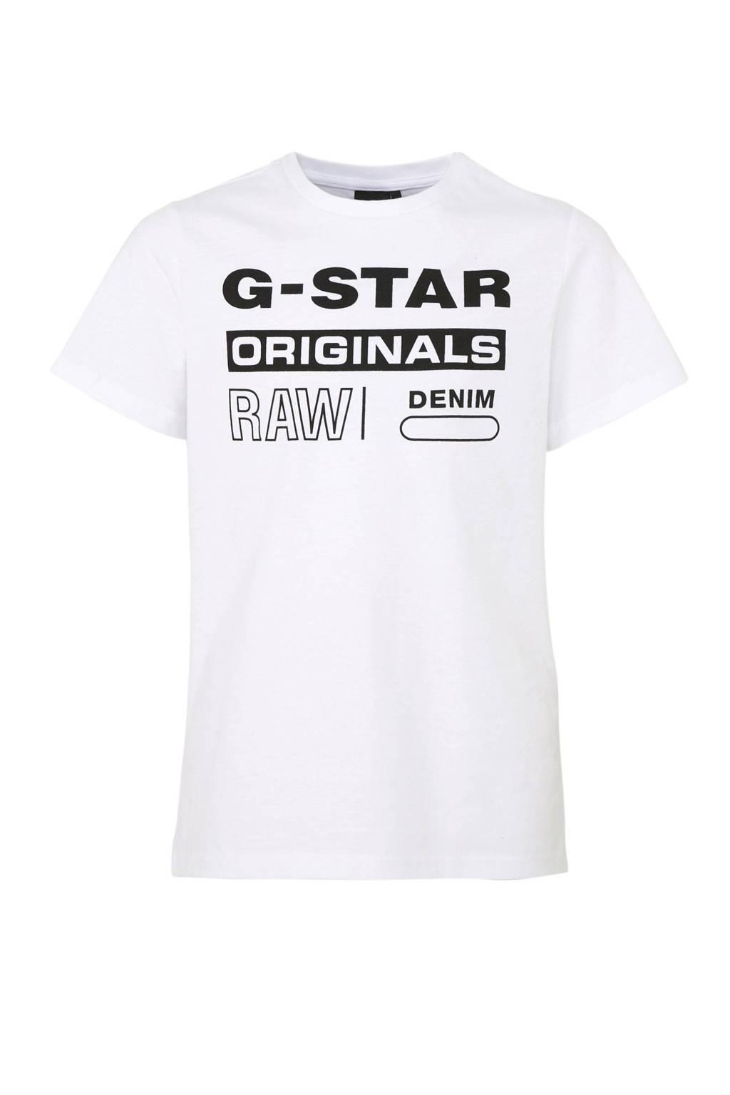 G-Star RAW T-shirt met logo wit, Wit