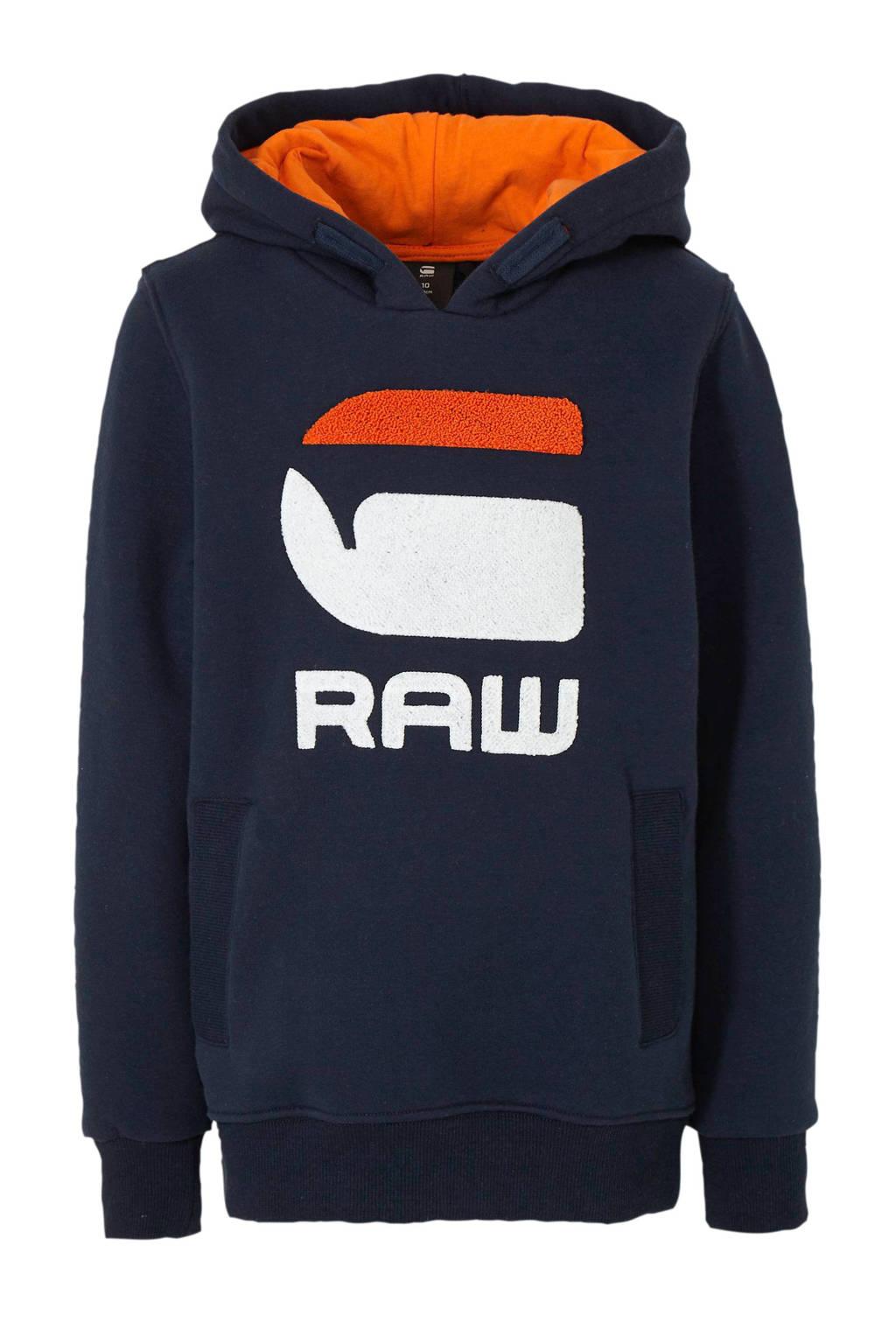 G-Star RAW hoodie met logo en 3D applicatie marine/oranje/wit, Marine/oranje/wit