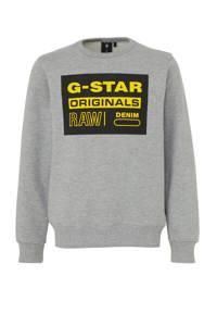 G-Star RAW sweater met logo grijs melange, Grijs melange