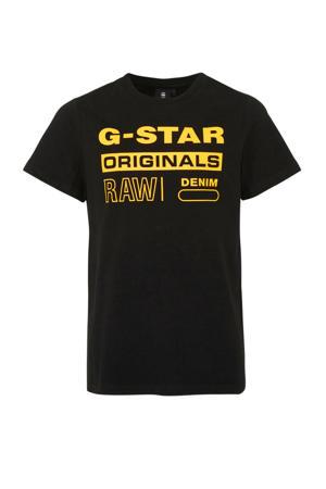 T-shirt met logo zwart/ geel