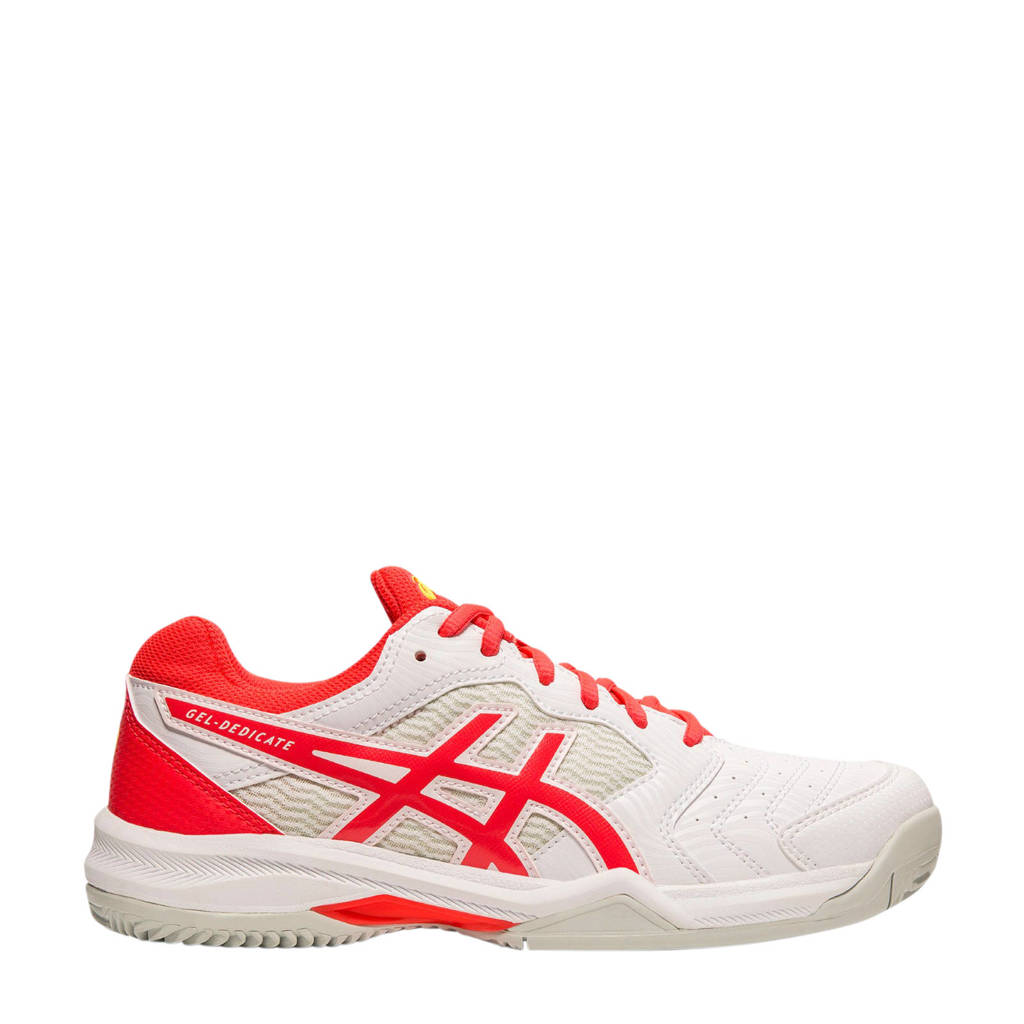 ASICS   Gel-dedicate 6 clay tennisschoenen wit/rood, Wit/rood