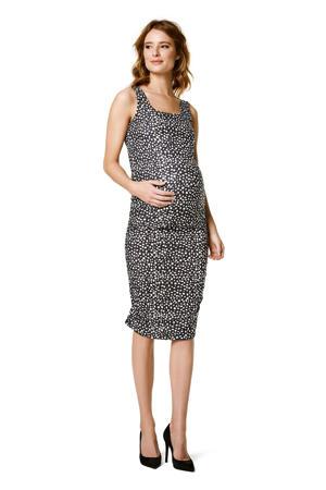 zwangerschapsjurk met all over print en plooien zwart/ wit