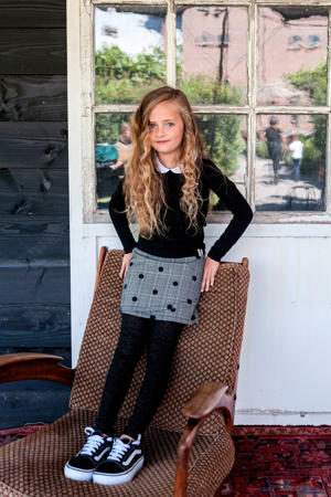 Little rok met stippen grijs/zwart
