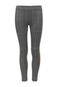 LOOXS Little geruite skinny broek met zijstreep grijs/zwart/geel, Grijs/zwart/geel