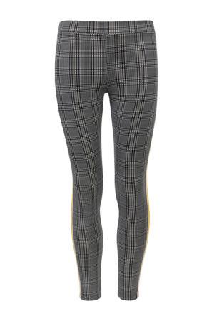 Little geruite skinny broek met zijstreep grijs/zwart/geel