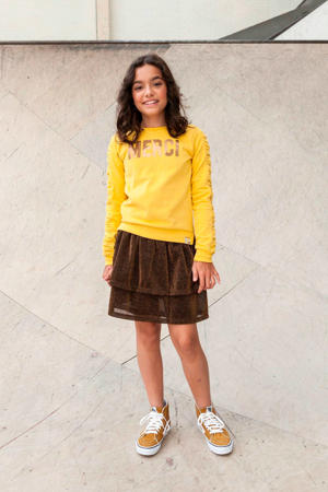 sweater met tekst en plooien geel