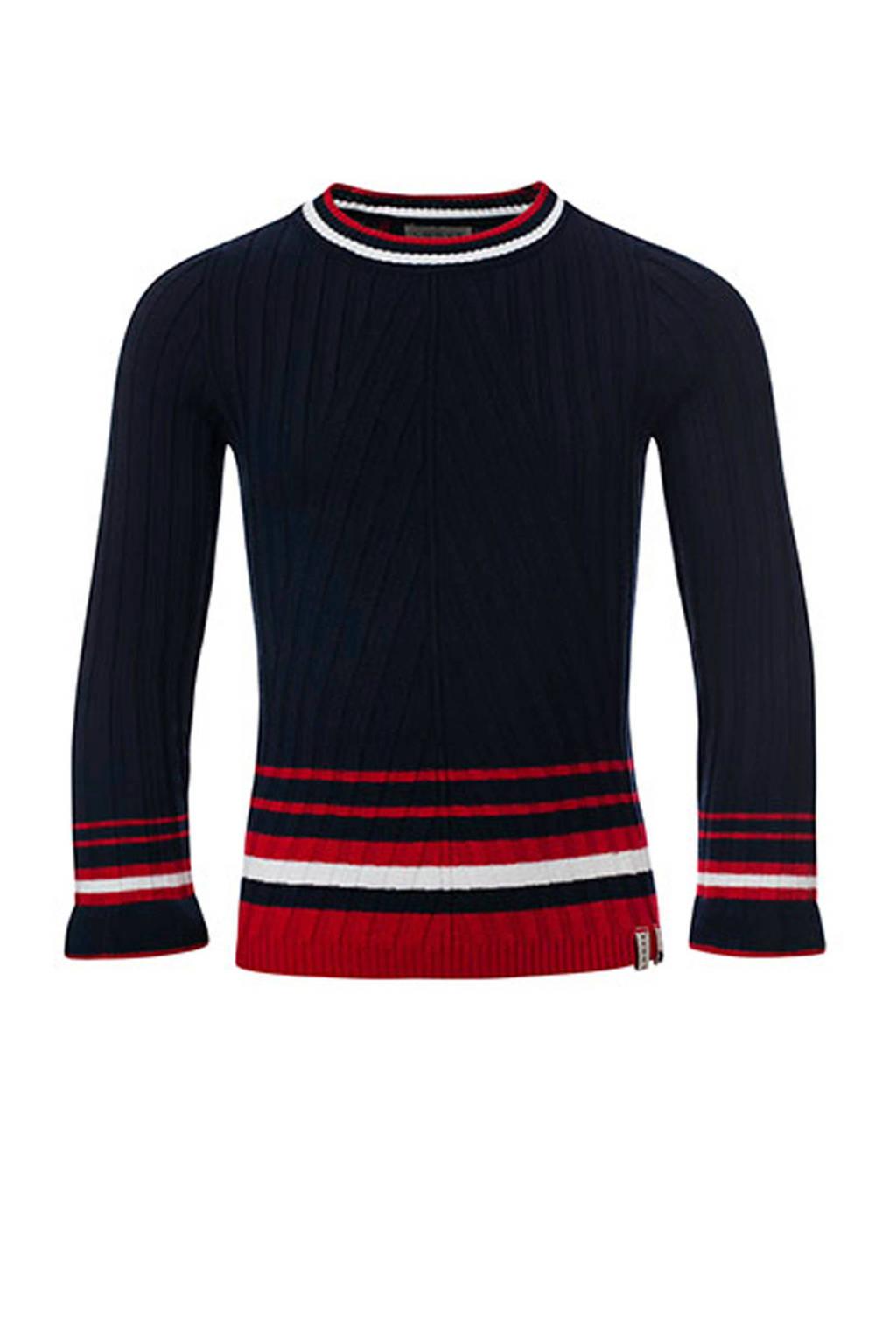 LOOXS gestreepte trui marine/ rood/ wit, Marine/ Rood/ Wit